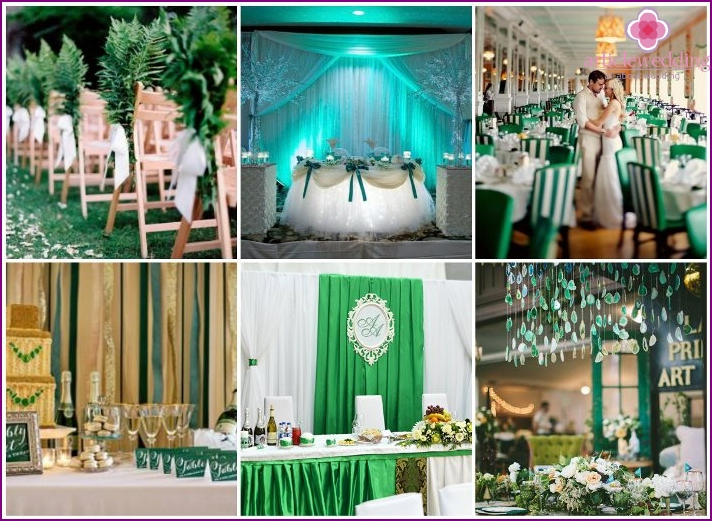 Decorating banquet emerald wedding party