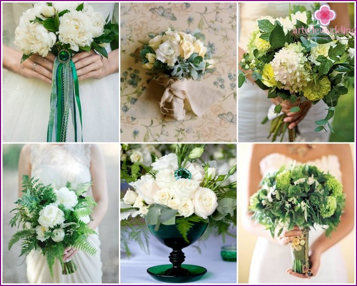 Bouquet of the bride for the wedding of emerald color