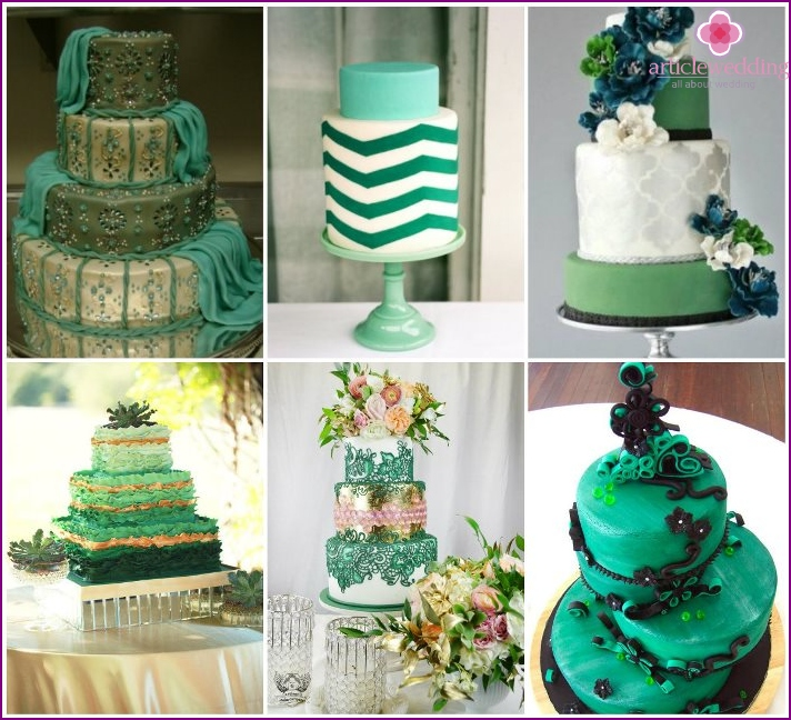 Cake for wedding emerald