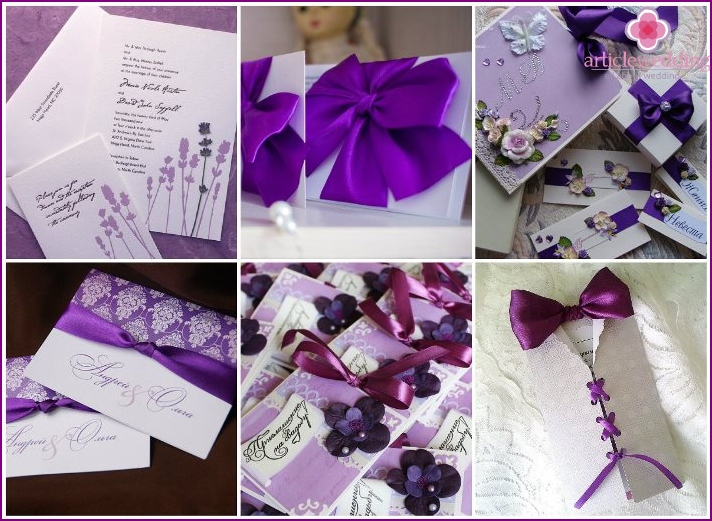 Wedding invitation cards lilac color