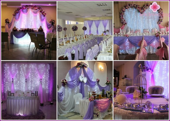 The decor of the banquet hall of lilac color