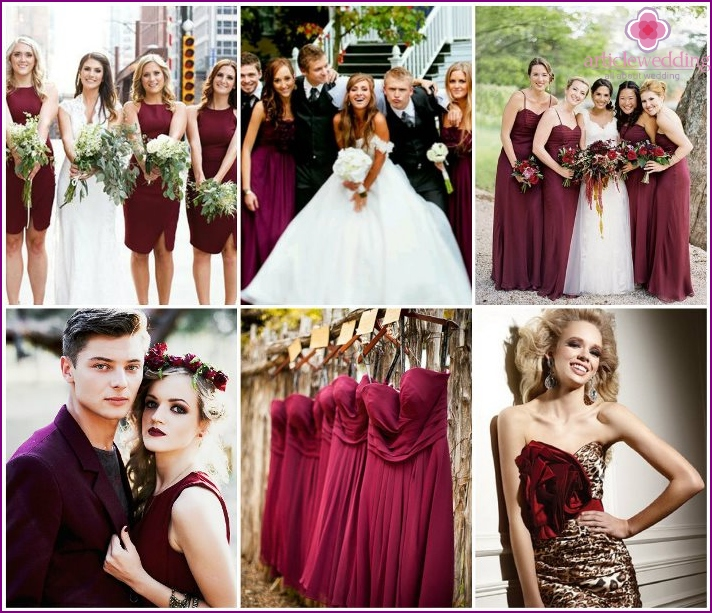 The dress code for the guests at the wedding colors Marsala