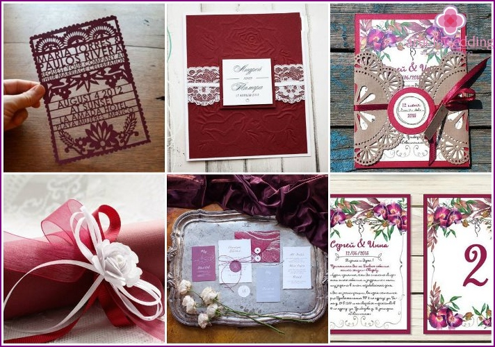 Wedding Invitations color Marsala