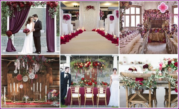 Marsala in the decoration of the wedding place
