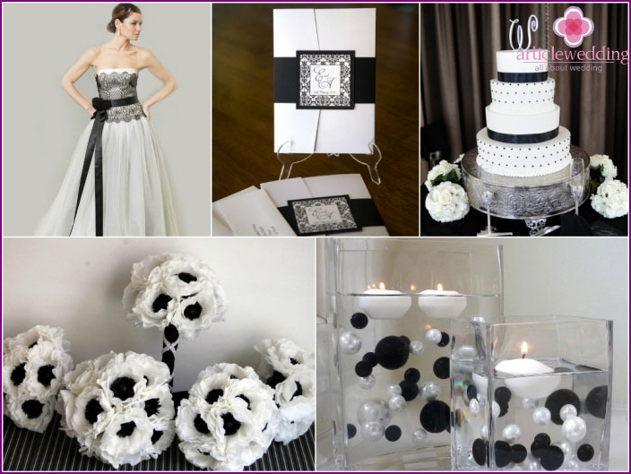 Elegant style black and white wedding