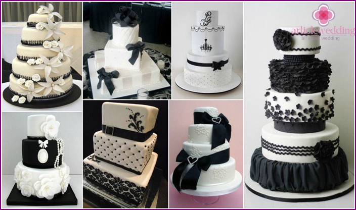 Black-and-white cake at the wedding