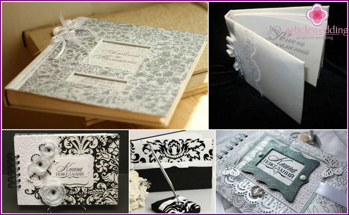 Black and white guest book at a wedding