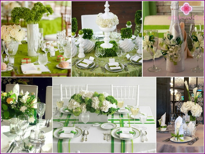 Variants of registration of festive table on a green wedding