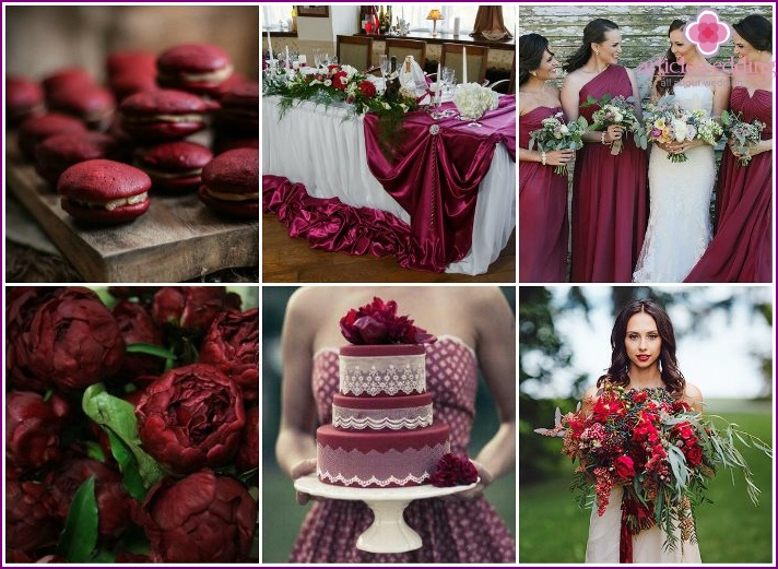 Making wedding in burgundy tone