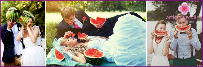 Ideas for photo shoot on the wedding watermelon