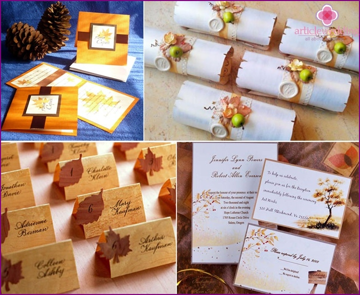 Ideas for autumn wedding invitations