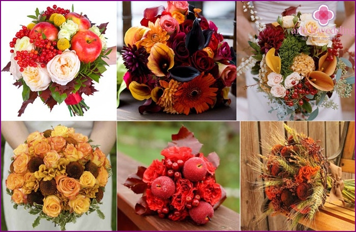 A bouquet for the autumn wedding