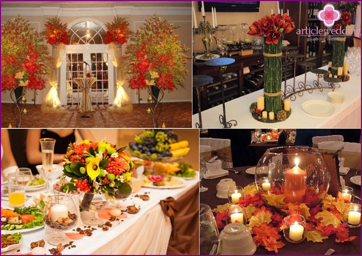 Autumn style of the wedding hall