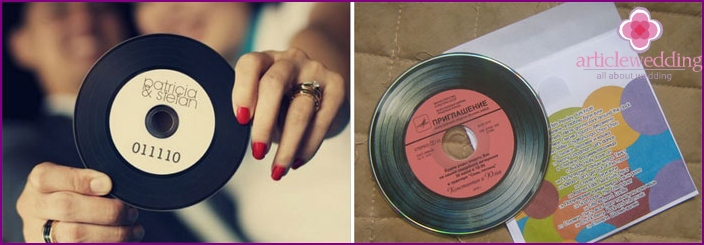 Wedding invitation in the form of music records
