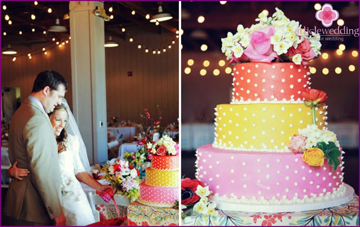 Bright retro cake for wedding