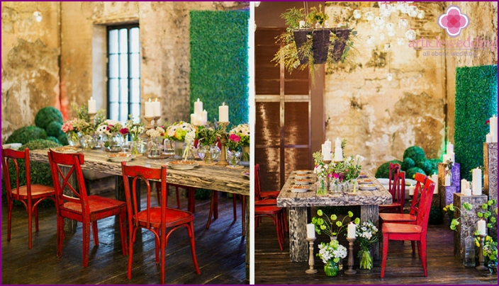 Ideas bright loft atmosphere of the wedding hall