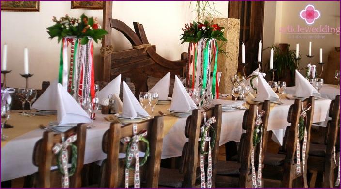 Decoration wedding table on Ukrainian wedding