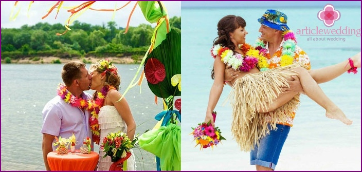 Hawaiian stylistic wedding on the beach