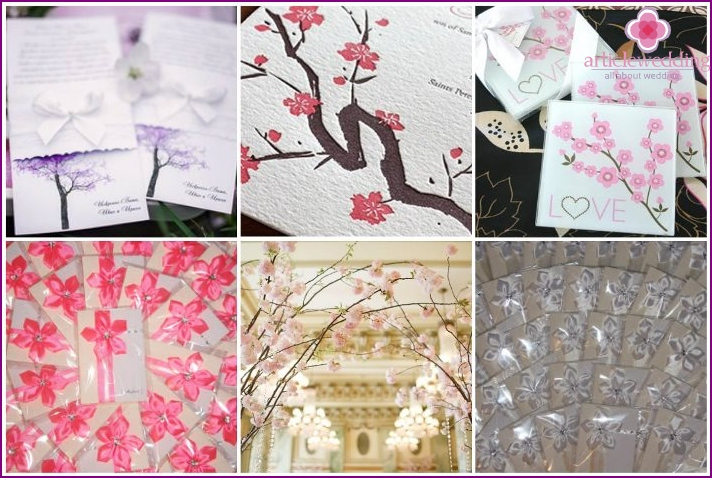 Wedding invitation style cherry