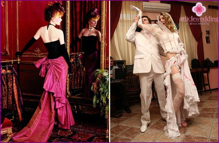 Bright wedding photos in the style of Moulin Rouge