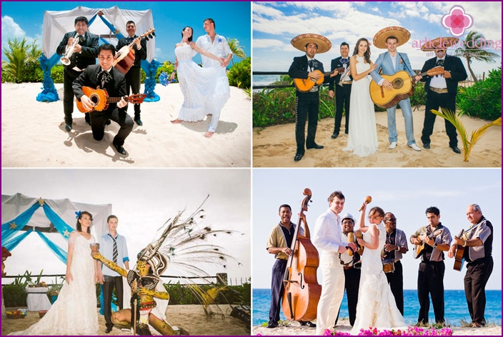 Symbolic Mexican wedding on the shores of the Atlantic Ocean