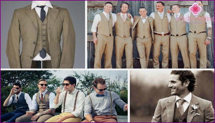 Wedding groom suit in the style of the 60's