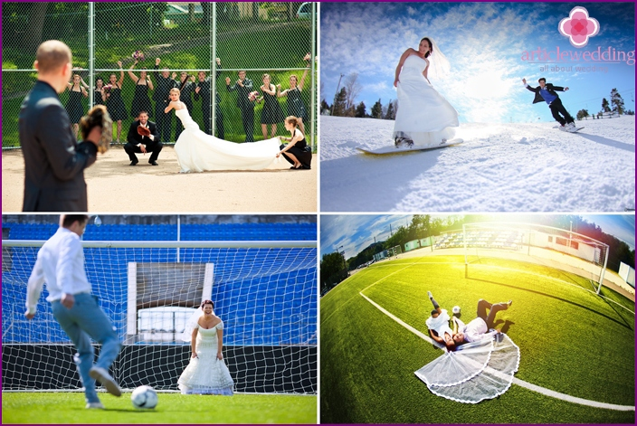 Photoshoot in sports style wedding