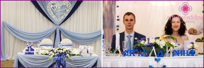 Decorating a banquet hall for weddings Gzhel