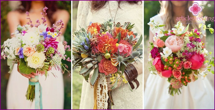 Bouquet at a wedding with a hippie theme