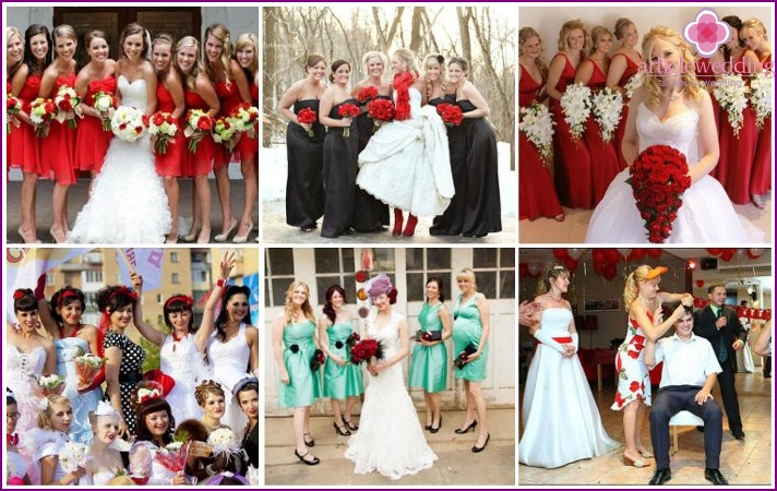 Red elements in dresses guests