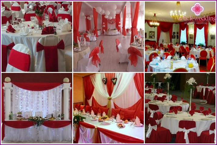 Wedding banquet room white and red