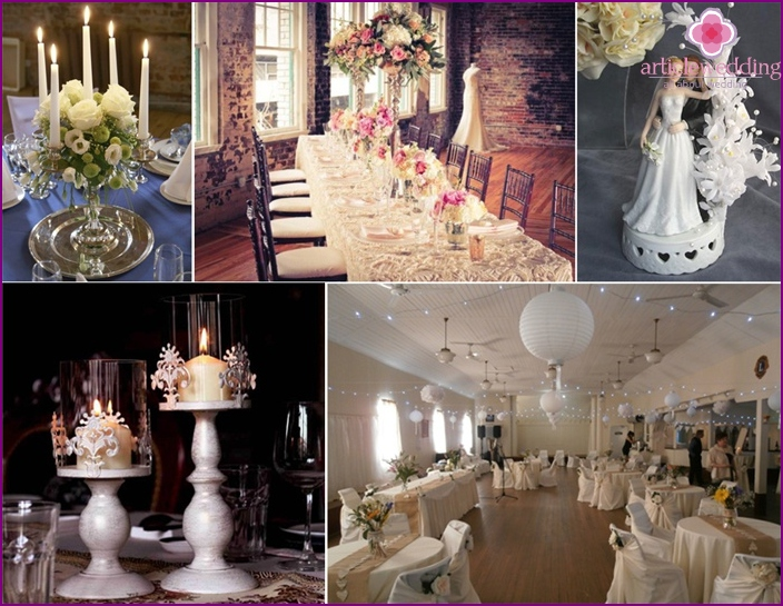 The decor of the wedding hall in vintage