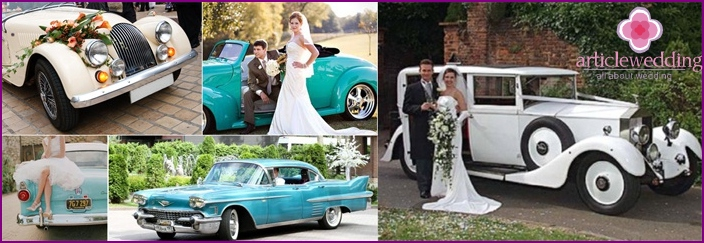 Wedding car in vintage style