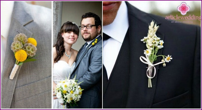 The festive costume of the groom with details-daisies