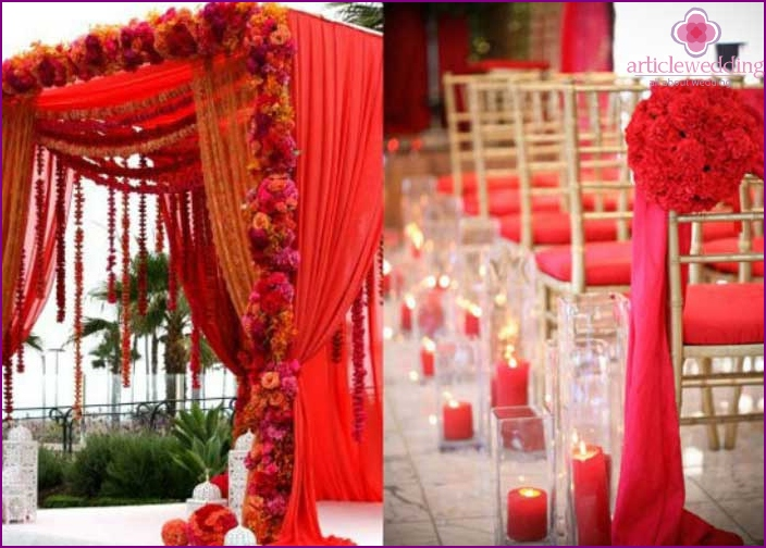 Red and gold design of an Indian wedding