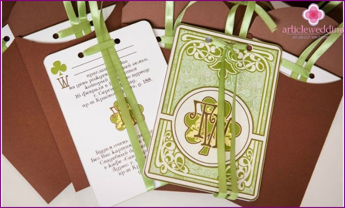 Stylish invitation cards on an Irish wedding