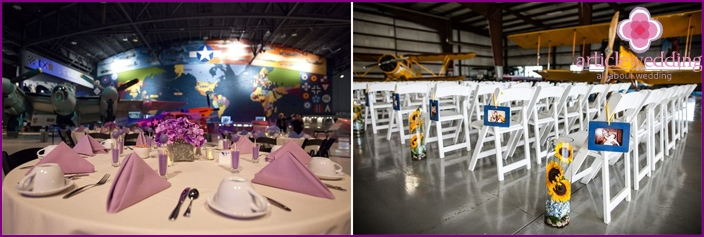 Decorating banquet hall in aviation style