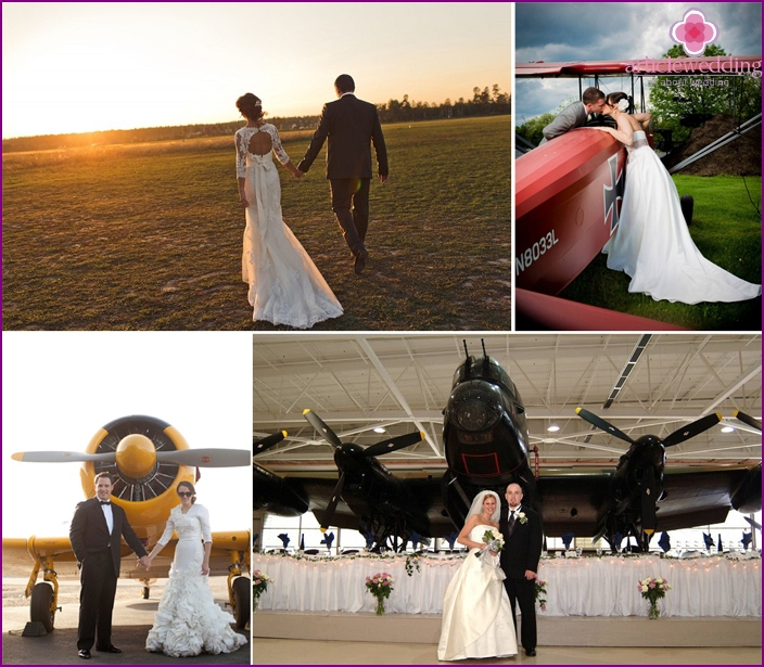 Wedding dress newlyweds in aviation style
