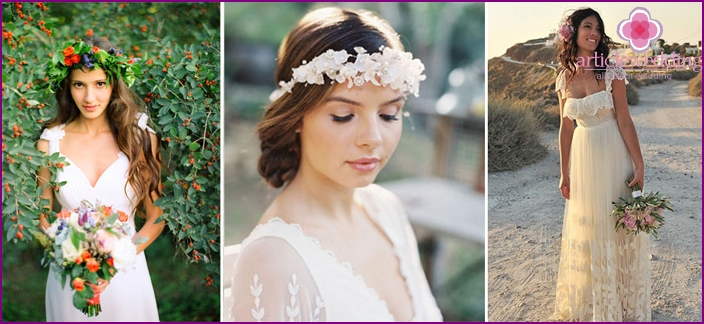 Images of the bride for the wedding in a rustic style