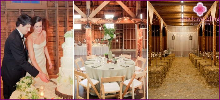 The decor of the banquet hall in rustic style