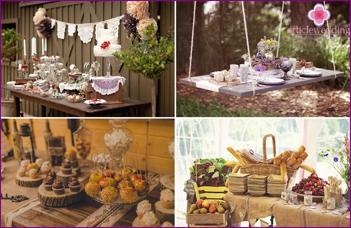 Treats at the wedding in a rustic style