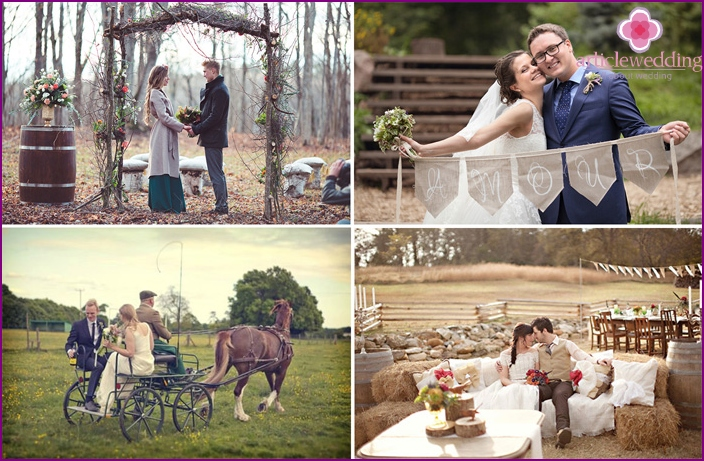 Ideas for the wedding photo shoot in a rustic style