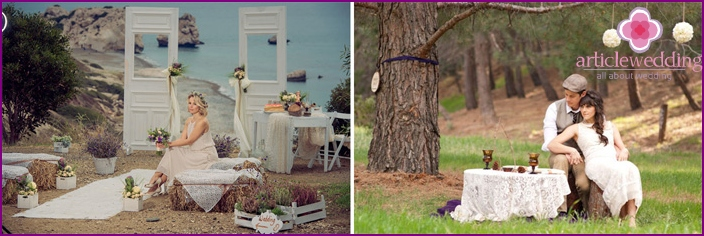 Photo shoot at a wedding in a rustic style