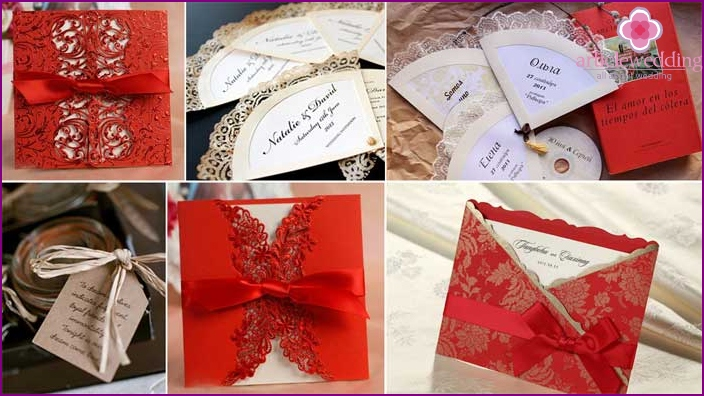 Design of invitation cards for visitors in red tones