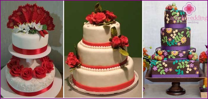 A selection of Spanish-style wedding cakes