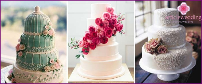 Delicate wedding cake options in chic style Chebbi