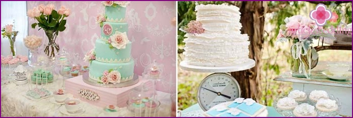 Fancy cakes, decorated in pastel colors