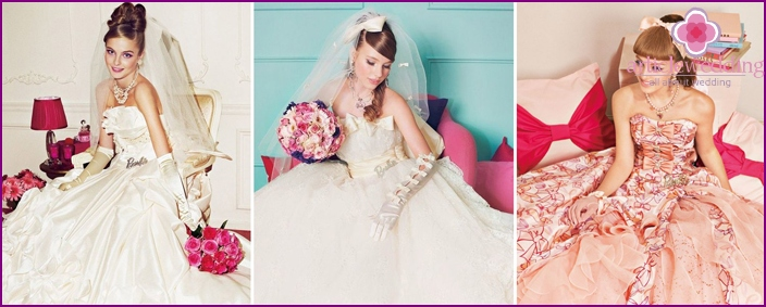 Wedding dress of the bride in the style of Barbie