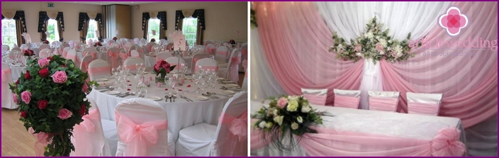 Decorating wedding hall in the style of Barbie