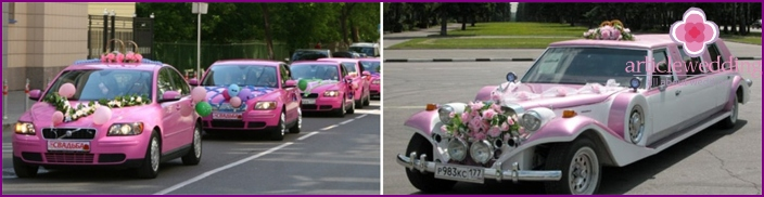 Wedding procession in the style of Barbie
